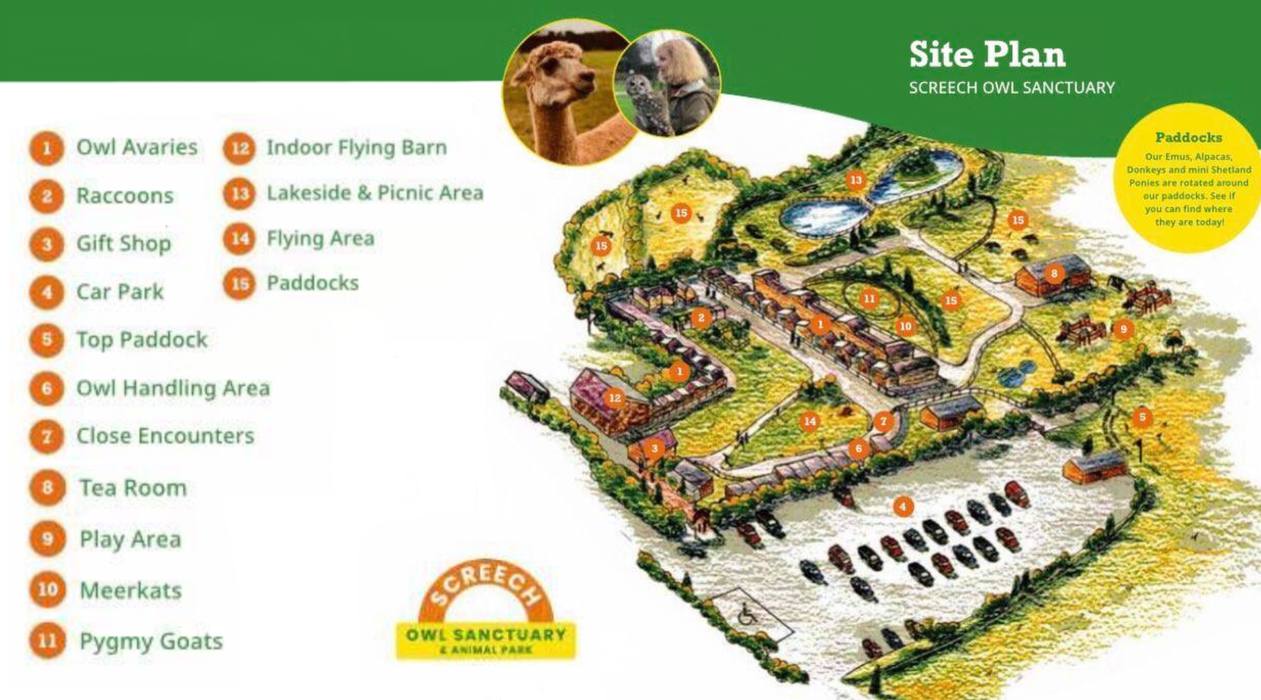 Site map for the Screech Owl Wildlife Park